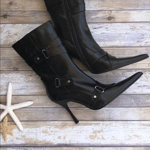 Julia Monti Black Leather Stiletto Boots NWOT